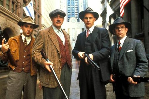 Andy Garcia, Sean Connery, Kevin Costner et Charles Martin Smith dans les incorruptibles