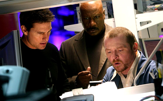 Tom Cruise, ving Rhames et Simon Pegg dans Mission: Impossible III