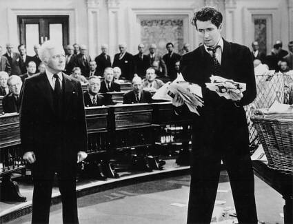 Claude Rains et James Stewart dans Mr Smith au sénat