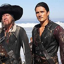 Le Capitaine Barbossa (Geoffrey Rush) et William Turner (Orlando Bloom)