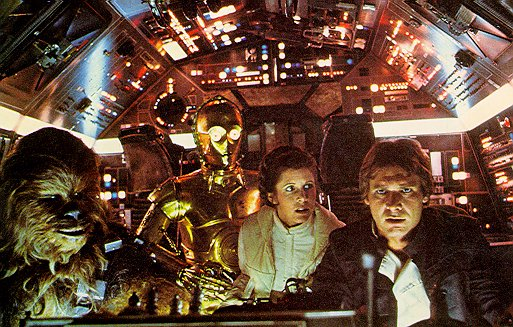 Chewbacca (Peter Mayhew), C3-PO (Anthony Daniels), Leia (Carrie Fisher) et Han Solo (Harrison Ford)